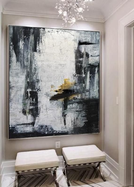Gold Canvas Artblack White Paintinglarge Abstract Painting Etsy Large Abstract Painting Horizontal Wall Art White Painting