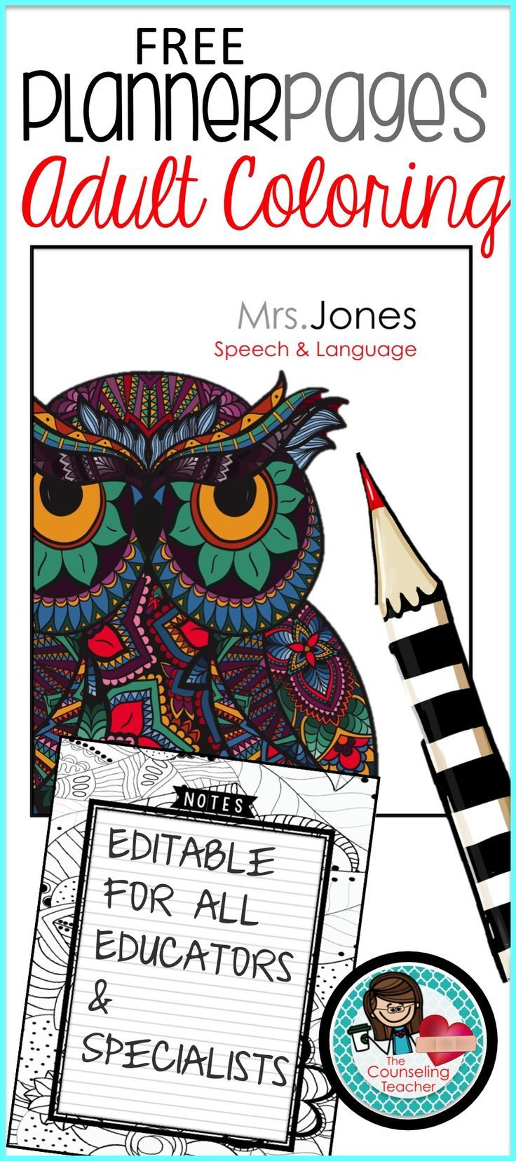 Planner cover and coloring page school counseling ideas