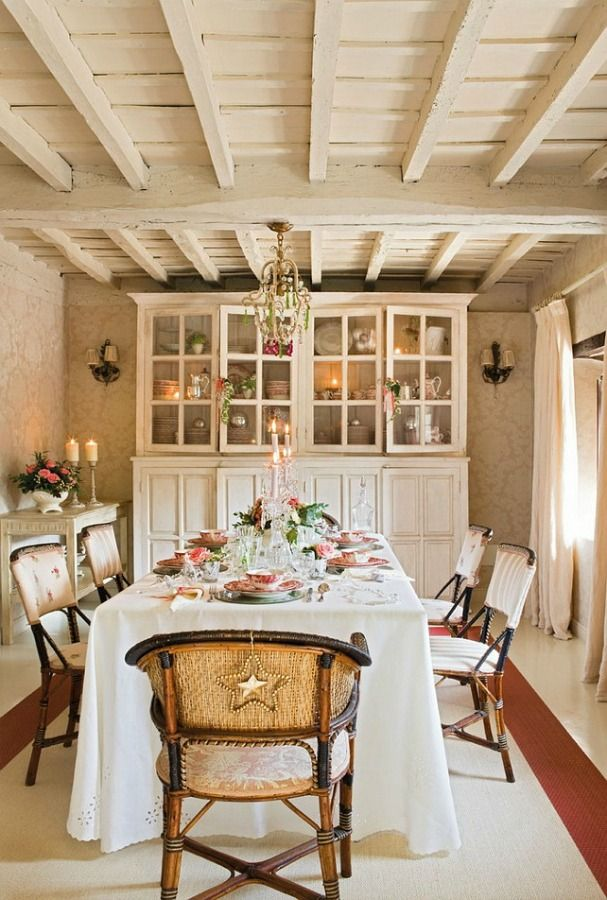 White French Country Christmas Romantic Holiday Cottage House Tour