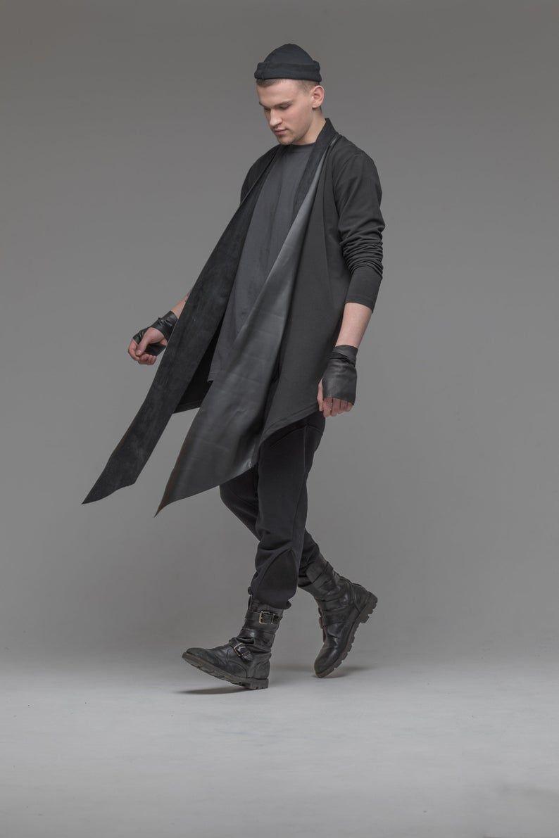 Black open front cardigan with leather trim, men asymmetric