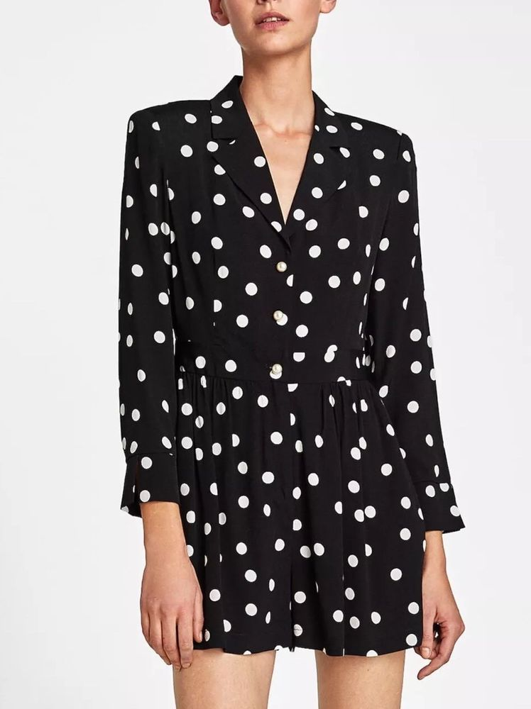1e88feb3cdc7 BNWT ZARA Black Short Polka Dot Jumpsuit with Pearl Buttons Size M  fashion   clothing  shoes  accessories  womensclothing  jumpsuitsrompers (ebay link)