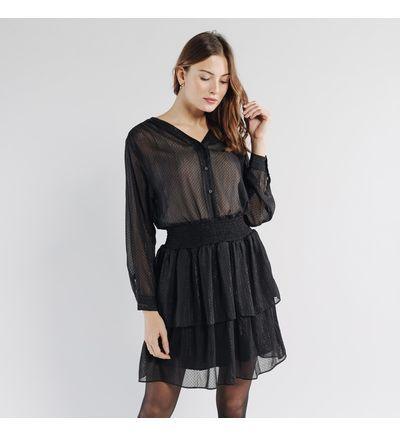 Artlove Robe courte � volants SIDONIE Robes Noir M Polyester