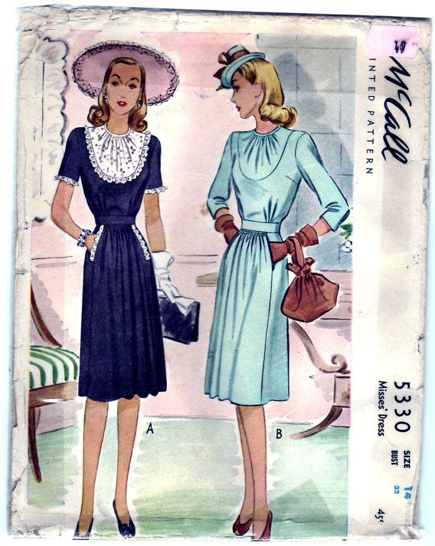Dress Size 14 busto 'annata 1943 McCall 5330 Sewing Pattern Misses 32 di SewUniqueClassique su Etsy https://www.etsy.com/it/listing/73922518/dress-size-14-busto-annata-1943-mccall