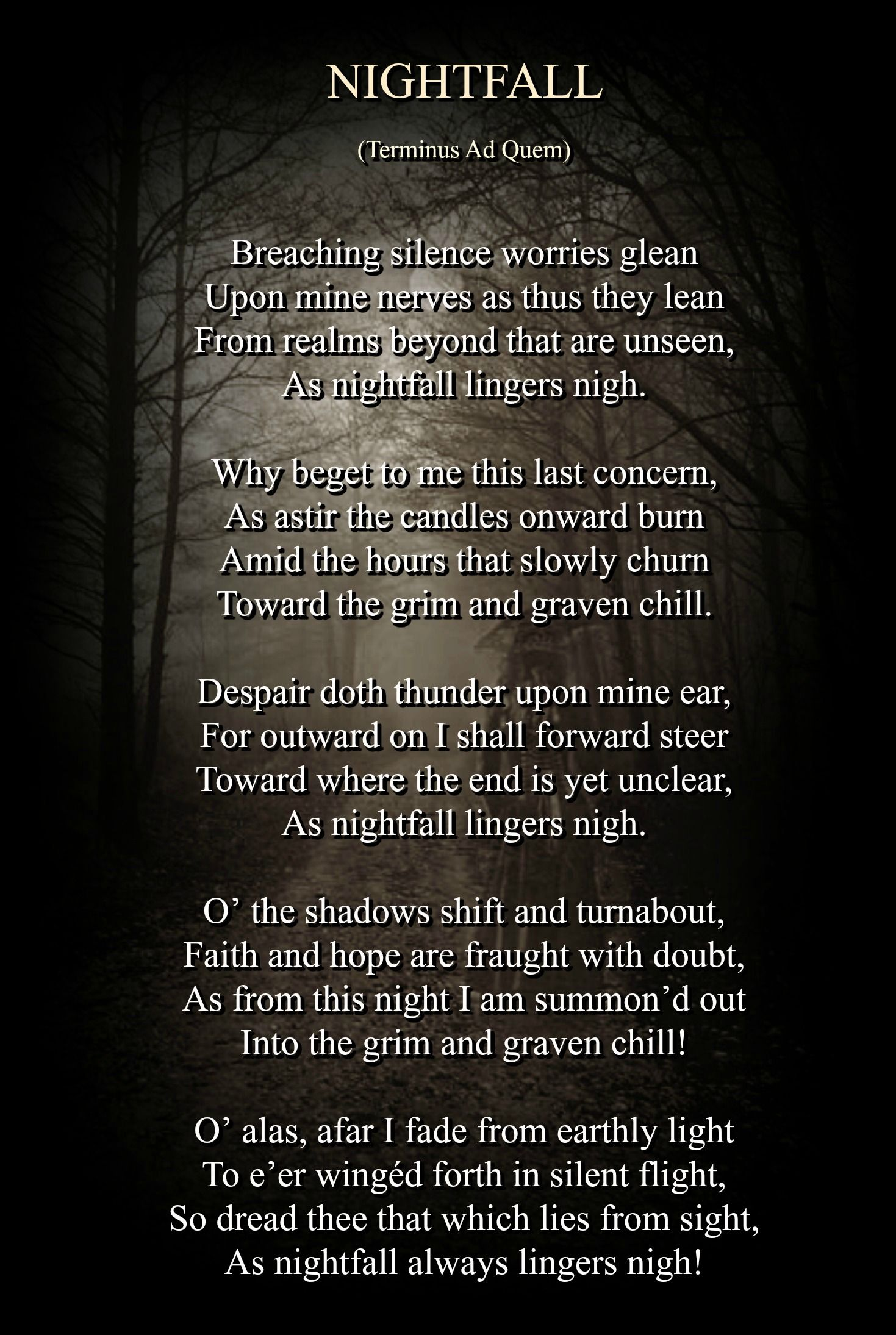 A Gothic Poem By R L McCallum Visit My Website For More Dark Poetry