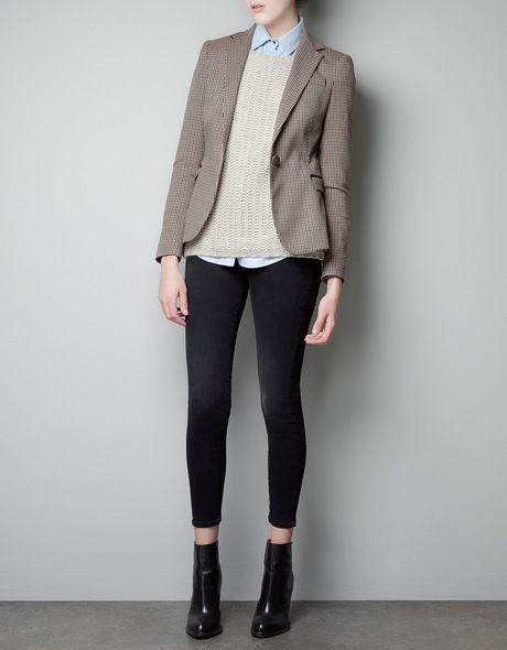 85ef2ba0d3c80 Zara Beige Houndstooth Blazer   elegant fashion   Fashion, Fashion ...