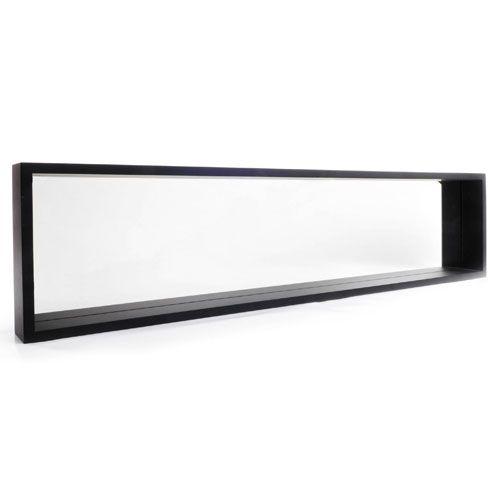 miroir horizontal contour en bois mdf peint noir ou blanc. Black Bedroom Furniture Sets. Home Design Ideas
