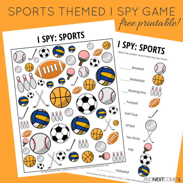photo about I Spy Printable named Sports activities Themed I Spy Activity No cost Printable for Small children No cost