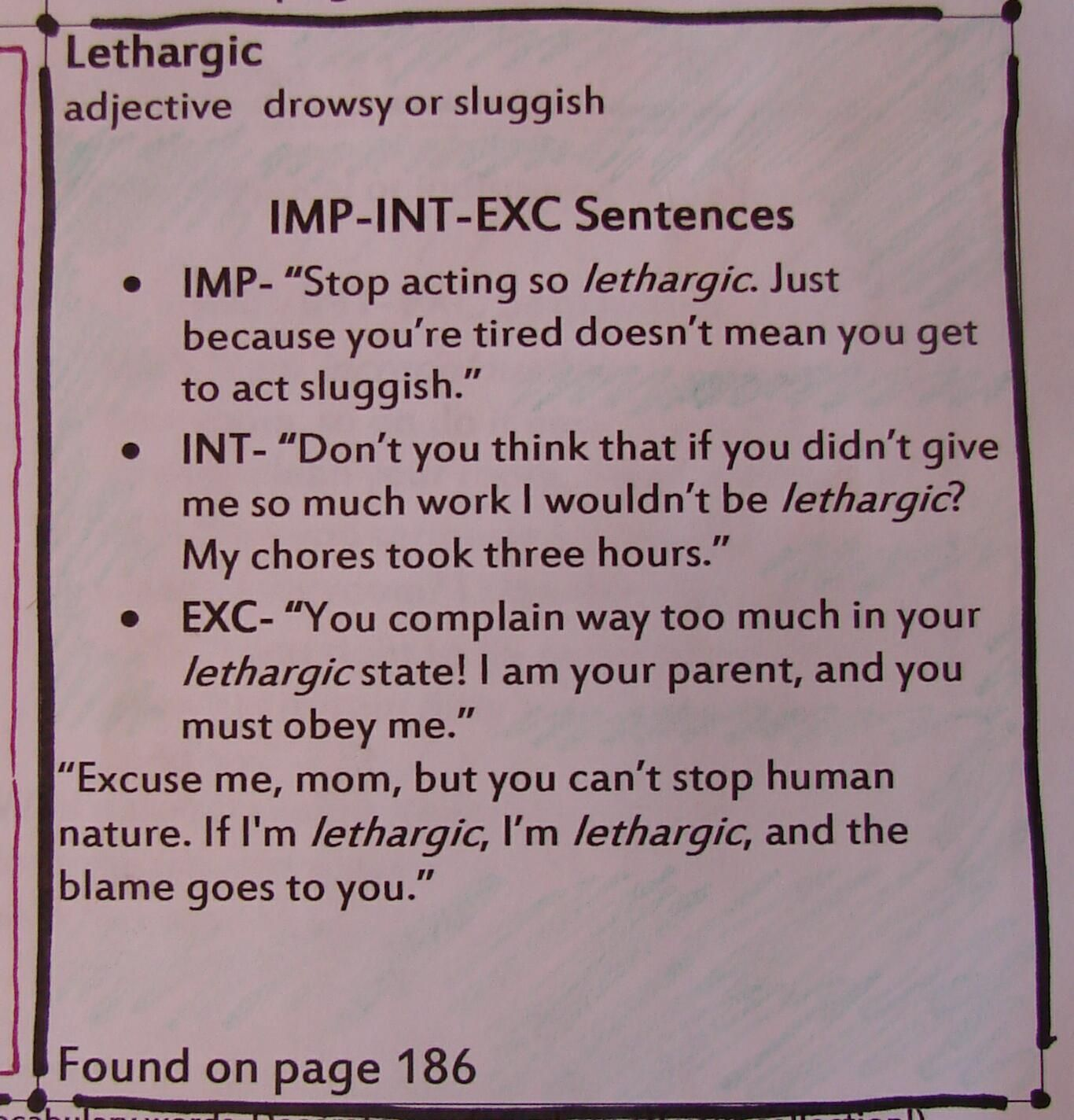 IMP-INT-EXCLAM SENTENCES based on a vocabulary word is but one of my  students' ten options when they bring four vocabular…   Vocabulary words [ 1424 x 1366 Pixel ]