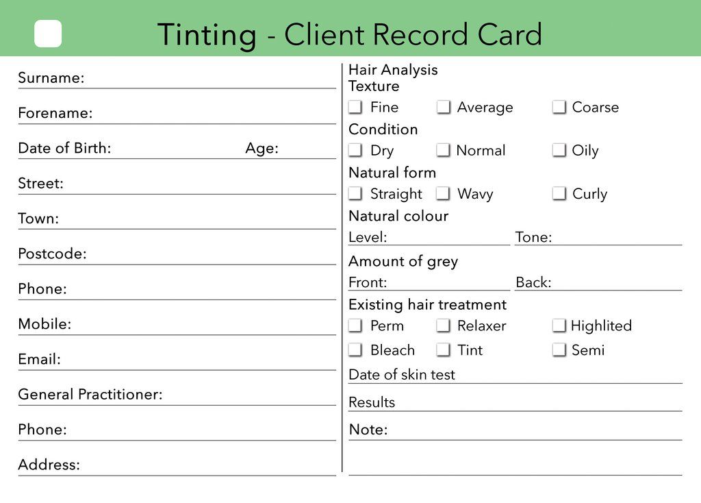 tinting client card clients record Pinterest Salons and - sample appointment card template