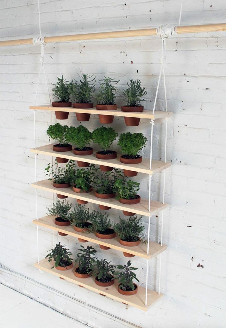 Der fertige vertikale Kräutegarten hängt an der Wand | DIY ...
