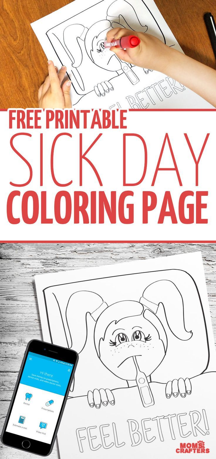Download this free printable sick day coloring page | Family Health ...