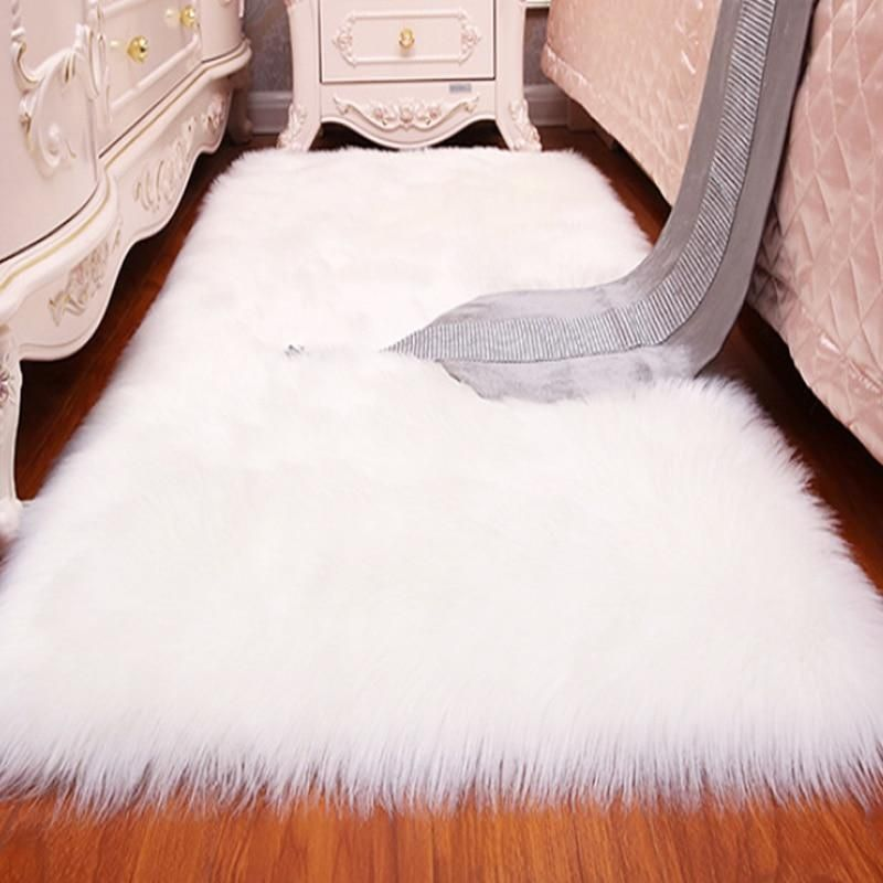 White Faux Sheepskin Wool Rugs Fluffy Carpet Seat Pad Livingroom Room Bedroom Balcony Decor 4