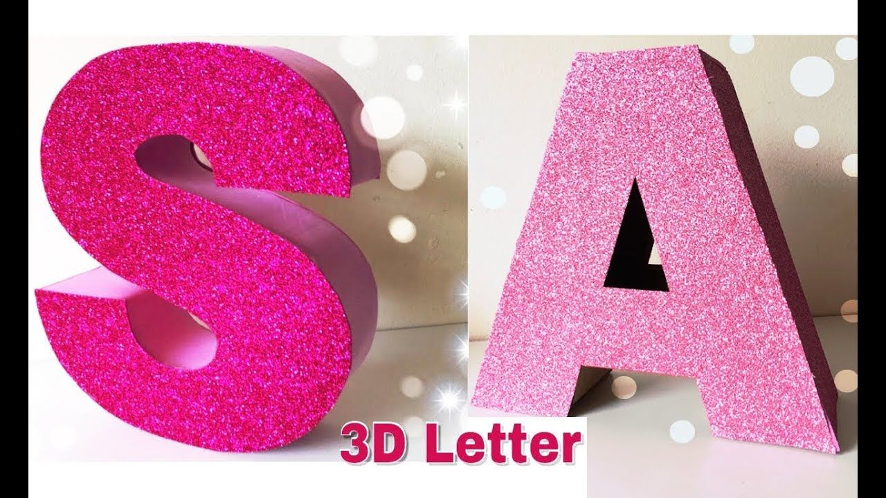 How To Make 3d Letter Home Decor Birthday Decoration Ideas Mass Crafts Youtube 3d Letters Diy Monogram Letters Floral Monogram Letter Diy