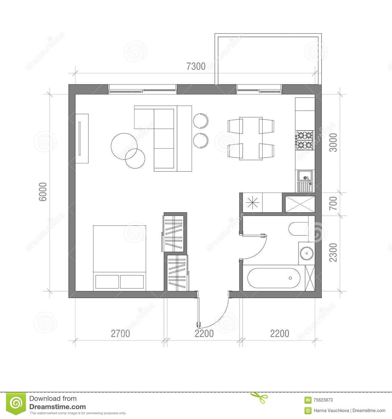 Architectural Floor Plan With Dimensions Studio Apartment Vector Illustratio Architectural Floor Plans Floor Plan With Dimensions Studio Apartment Floor Plans