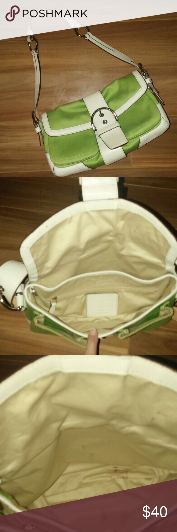 COACH AUTHENTIC COACH GREEN FABRIC & WHITE LEATHER PURSE. USED! SOME MAKEUP STAINS INSIDE BUT WHO SEES THAT??? 2 TINY MARKS OUTSIDE AS REFLECTED IN PICTURE 4. GORGEOUS!!! Coach Bags Shoulder Bags