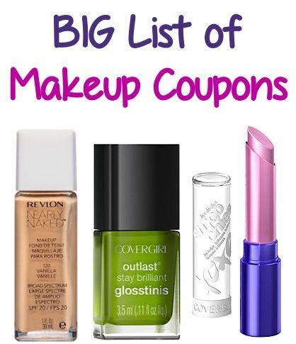 Big List Of Makeup Coupons 2 00 Off 1 Revlon 1 00 Off 1 Covergirl More Makeup Makeup Coupons Makeup Free Makeup
