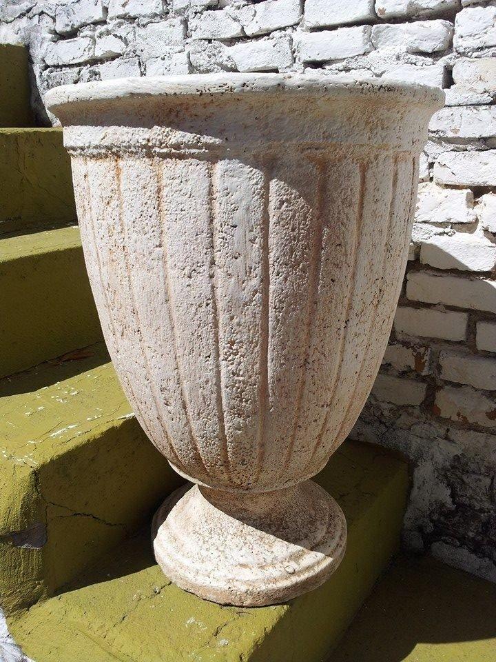 Maceta cemento copa ornamental deco jardin emporio for Macetas grandes para jardin