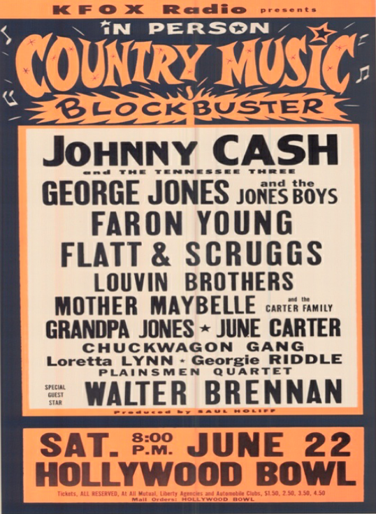"Johnny Cash on Twitter: ""Here's a 1963 flyer from the @HollywoodBowl. The Man In Black headlined an all-star lineup! #ThrowbackThursday https://t.co/dOgILXA5Qb"""