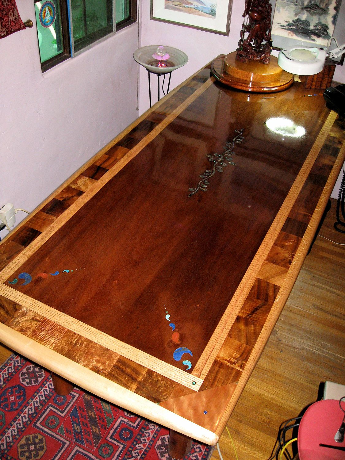Custom laminated exotic hardwood dining table with by for Custom laminations