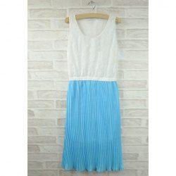 $6.44 Sweet Scoop Neck Lace Splice Chiffon Dress For Women