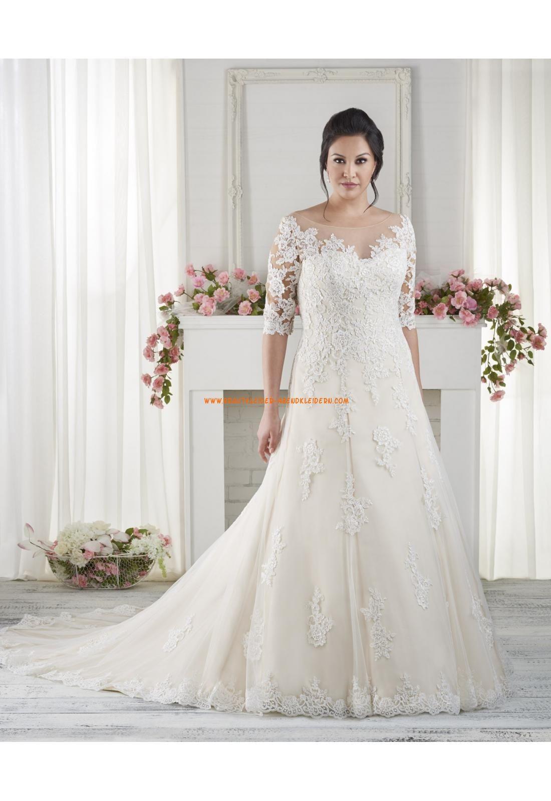 A-linie Modische Schöne Brautkleider aus Tüll mit Appplikation