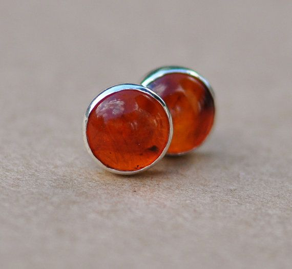 Amber Earrings Handmade With Sterling Silver Earring Studs