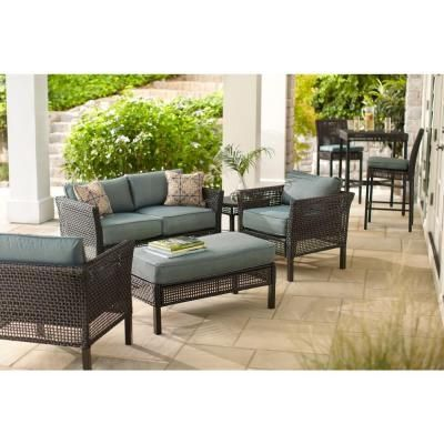 Hampton Bay Fenton 4 Piece Patio Seating Set With Peacock And Java Patio Cushion D9131 4pckd At T Patio Seating Sets Patio Seating Outdoor Patio Furniture Sets