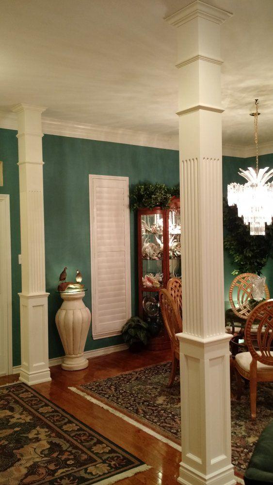 square  wood half paneled column
