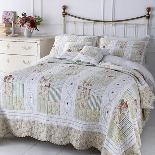 Sashi Bed Linen English Rose 100% Cotton Quilted Patchwork ... : quilted patchwork bedspreads - Adamdwight.com
