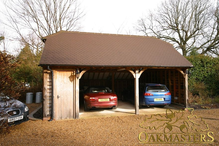 2bay open oak garage with shed Oakmasters Shed