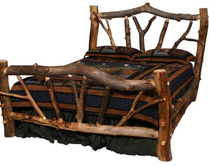 Rustic Burl Aspen Log Bed With Handcarved Wood Panel   Panel, Camas ...