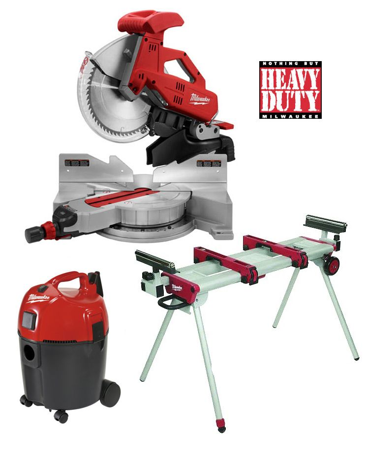 Milwaukee 12 Slide Compound Mitre Saw Stand Dust Extractor Combo Kit Milwaukee Milwaukee Power Tools Tool Room