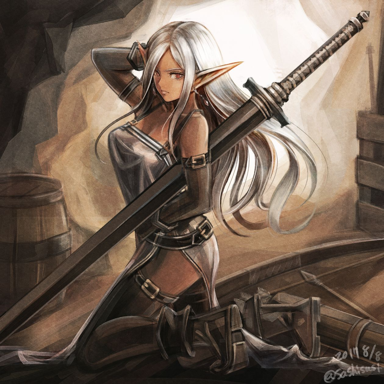 Dark Elf Sword Black Anime Characters Anime Elf Dark Elf