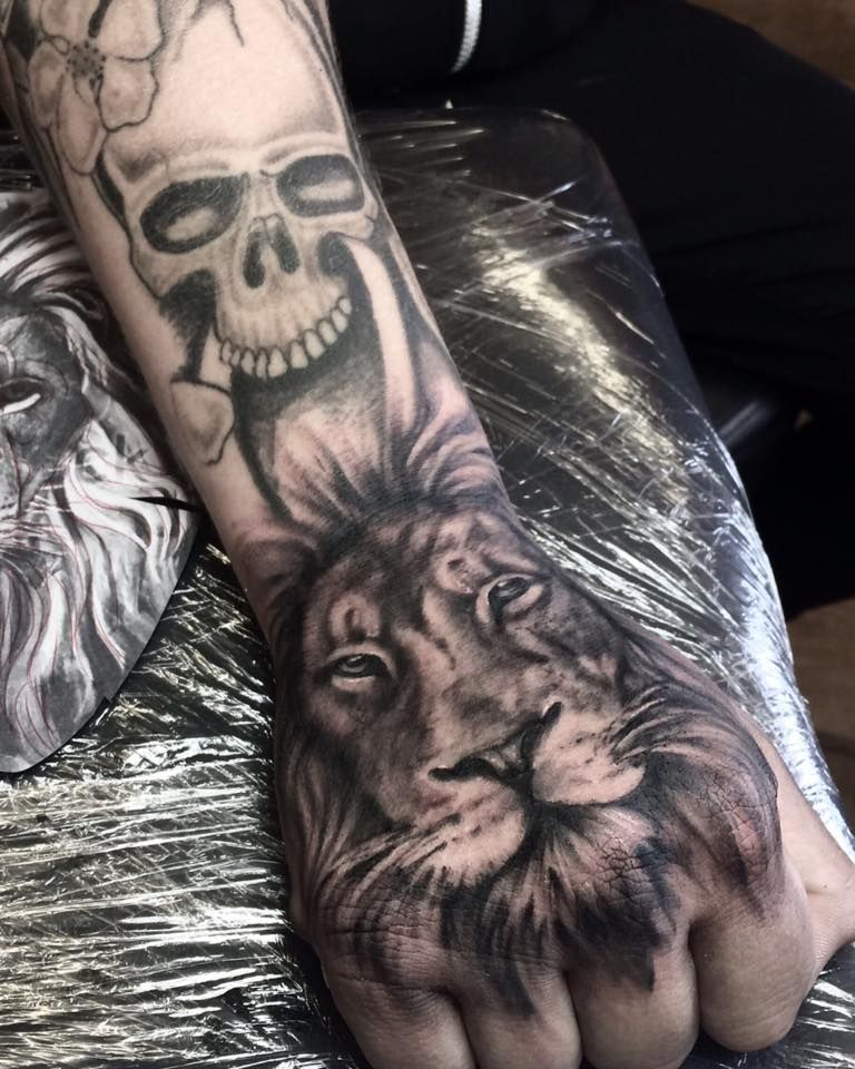 Lion Hand Tattoo Design Men . Beth Wilde @ Wilde Ink