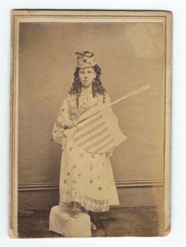 Carte De Visite Colombia 1860s CDV PATRIOTIC GIRL In LADY LIBERTY COSTUME