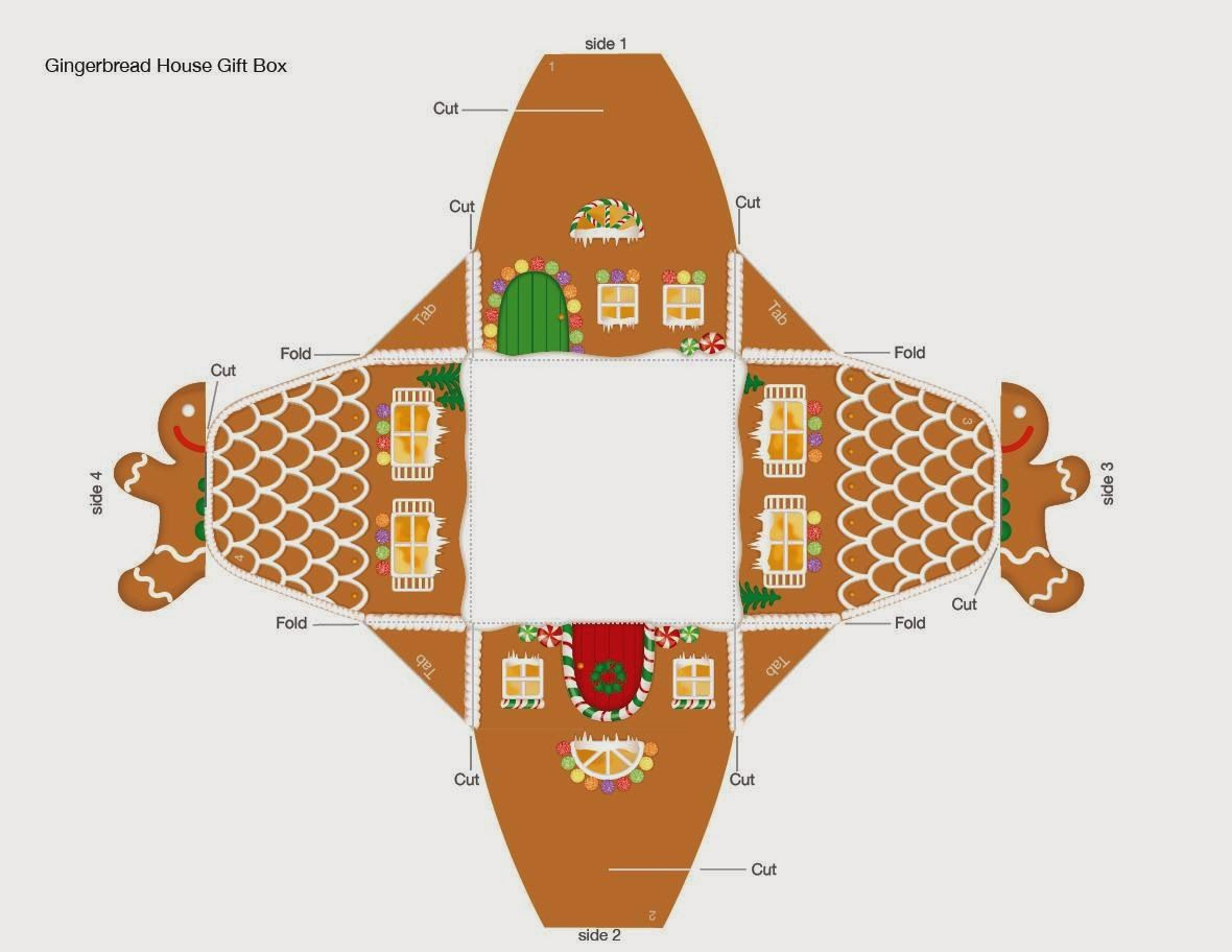 gingerbread house gift box template  Free Printable Gingerbread House Box. | Free christmas ...