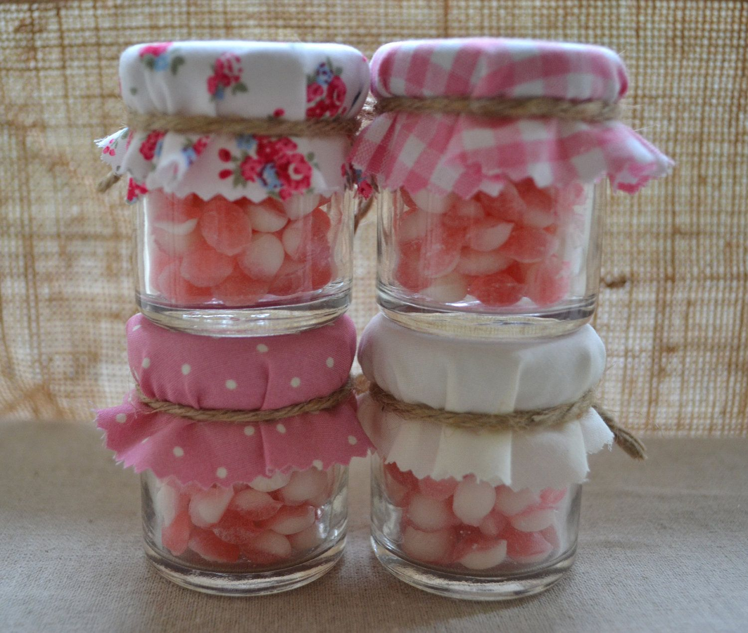 4 Mini Jam Jar Candy Favours With Pink And White Shabby