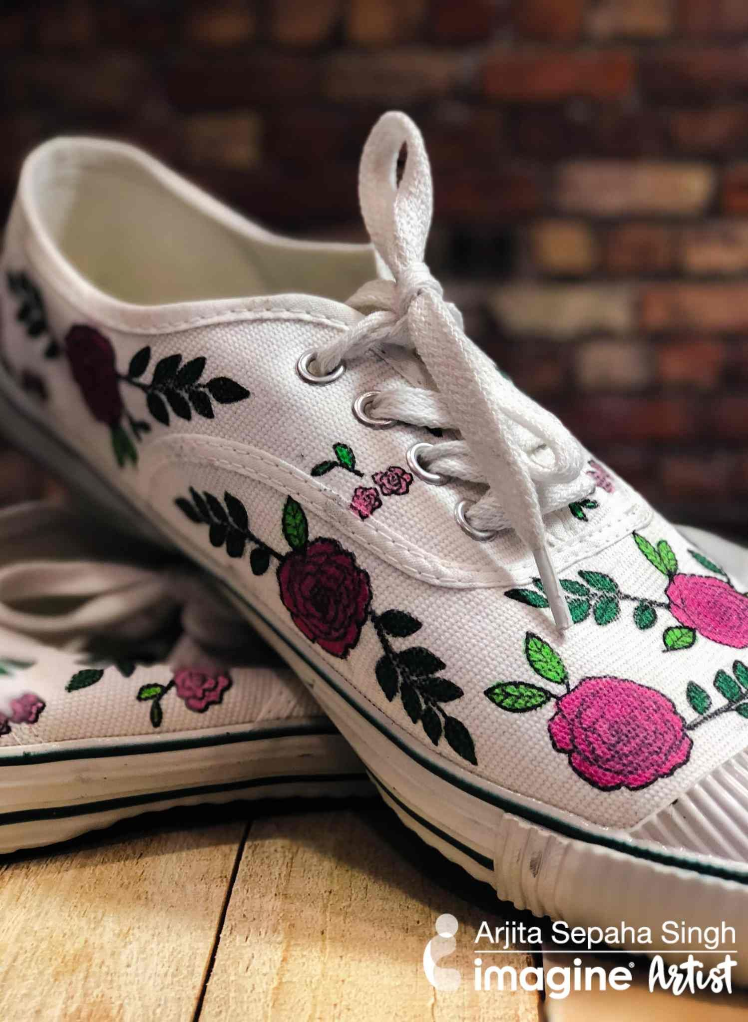 Diy stamping with versafine clair inkpad on canvas shoe
