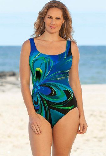 6d4535981e Longitude Blue Flower Burst Tank Swimsuit Plus Size Swimwear for only   29.98 You save   59.02 (66%)