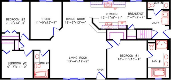 1 Story Floor Plans For Rectangular Houses