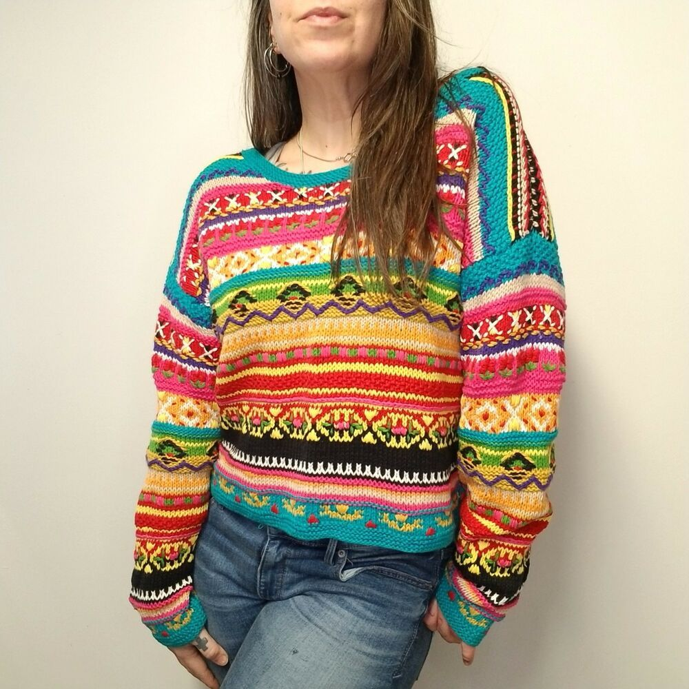 8812953f95 vtg 90s CASUAL CORNER Hand Knit Colorful Cropped Scoop Neck Sweater Womens M   CasualCorner  PulloverSweater