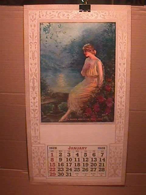 BEAUTIFUL LADY IN MOONLIGHT PRINT- F.R. HARPER - 1928 SAMPLE CALENDAR  #ArtDeco