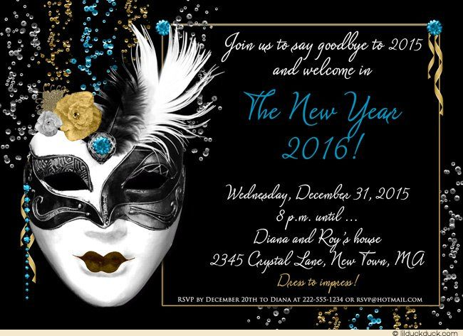 dark midnight masked new years eve invitation design