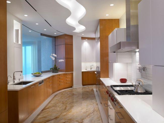 led deckenbeleuchtung küche einbauleuchten holz küchenschränke ...