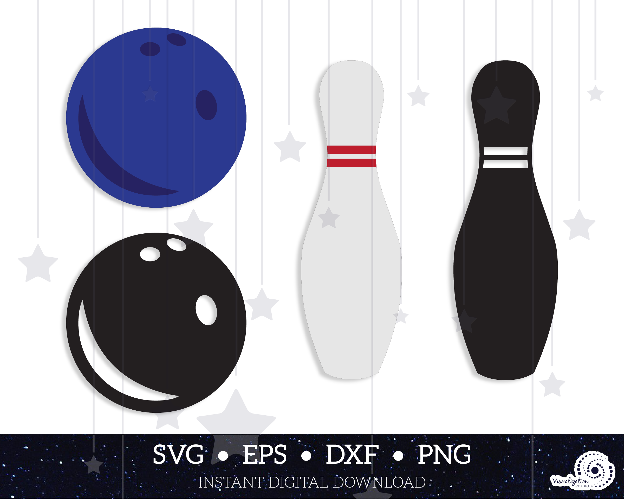Bowling Ball Pin Silhouette Instant Digital Download Svg Dxf Eps Png In 2020 Bowling Ball Digital Bowling