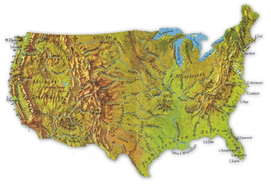 Cartina Geografica Usa Fisica.Cartina Fisica Stati Uniti Stati Uniti Geografia America