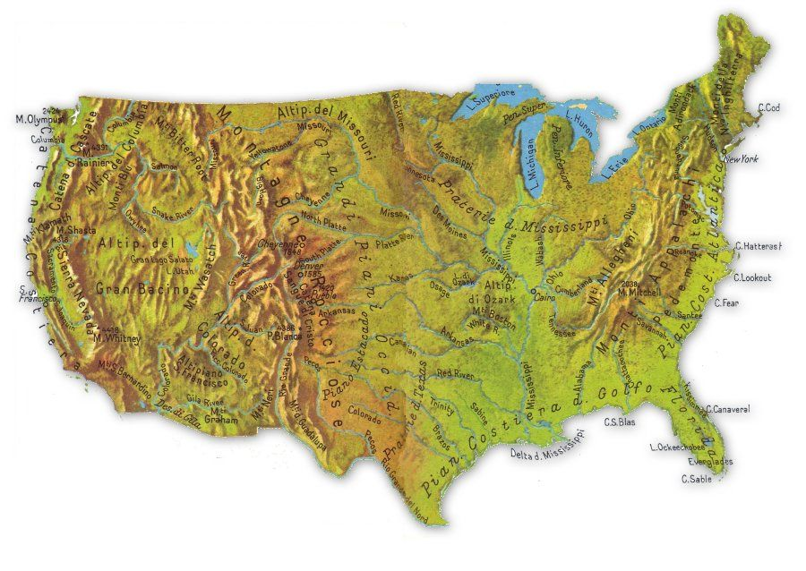 Cartina Economica Stati Uniti.Cartina Fisica Stati Uniti Stati Uniti Geografia America