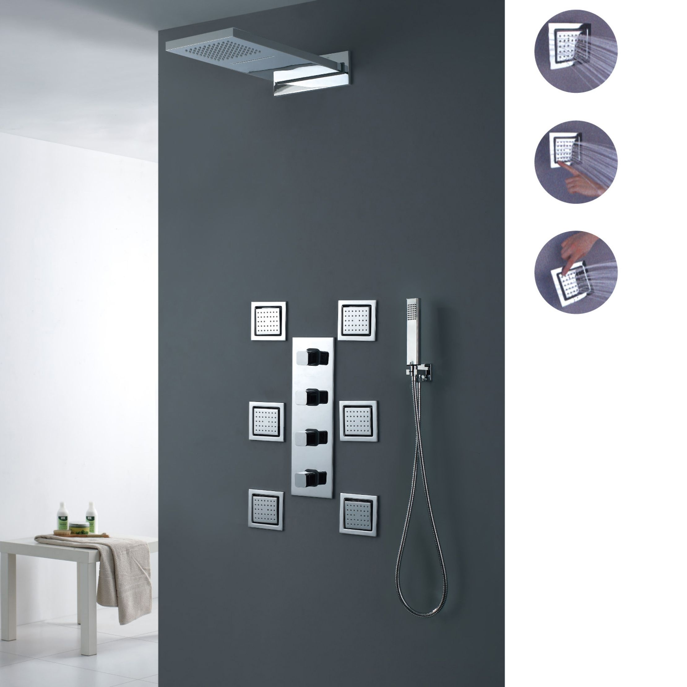 Luxury Wall Mount Waterfall Rain Shower System With 6 Body Sprays