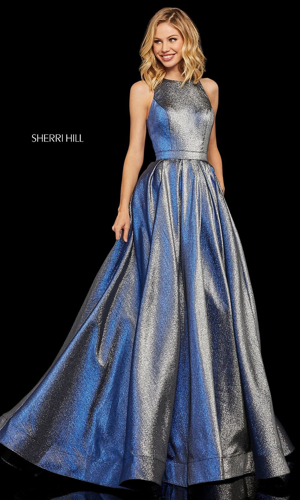 Metallic High Neck A Line Prom Dress With Pockets Prom Dresses With Pockets Metallic Prom Dresses A Line Prom Dresses