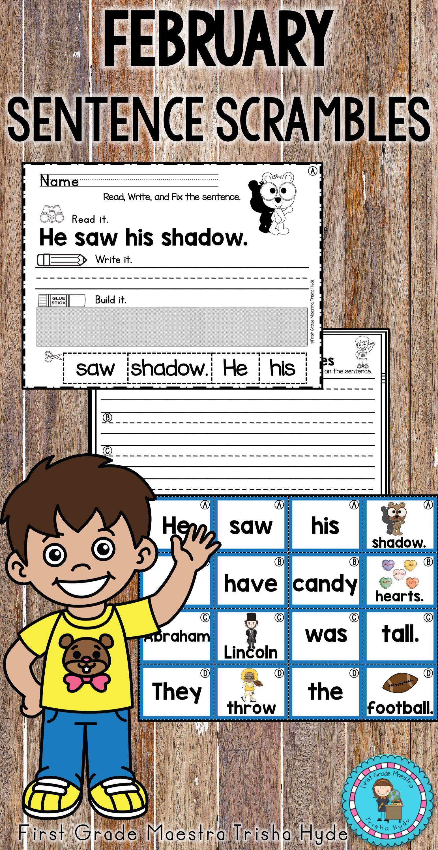 February Sentence Scrambles Sentence Scramble Kindergarten Writing Kindergarten February [ 3000 x 1548 Pixel ]